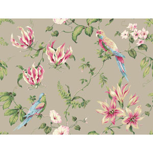 Casabella II Cloud Grey Tropical Floral Wallpaper
