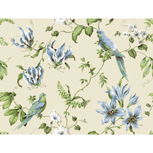 Casabella II Cream and Sky Blue Tropical Floral Wallpaper
