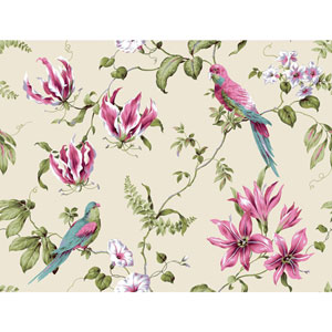 Casabella II Cream and Bright Pink Tropical Floral Wallpaper