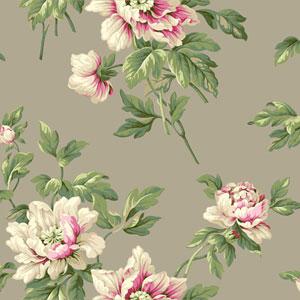Casabella II Stone Grey Document Floral Wallpaper