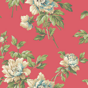 Casabella II Bright Cerise Document Floral Wallpaper