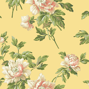 Casabella II Buttercup Yellow Document Floral Wallpaper