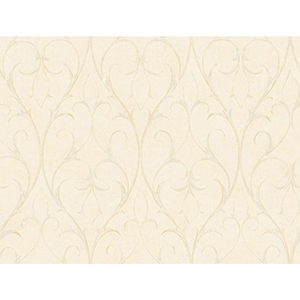Inspired by Color Ivory and Metallic Delicate Scroll Wallpaper