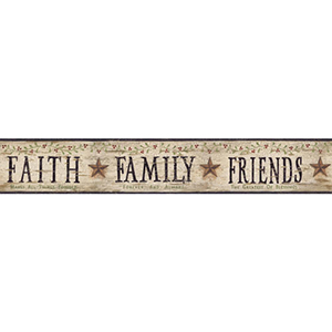 Welcome Home Eggshell, Black, Bright Green, Dark Red and Rust Faith, Family, Friends Border Wallpaper