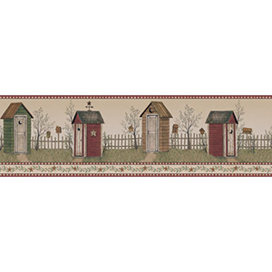 Welcome Home Barn Red, Deep Green, Amber, Taupe, Slate Grey and Beige Country Outhouse Border Wallpaper