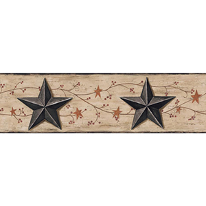 Welcome Home Beige, Taupe, Black, Rust, Brown and Red Barn Star, Vine Border Wallpaper