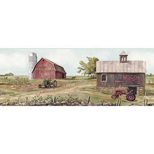 Welcome Home Pale Blue, Soft Greens, Browns, Reds, Pinks, Greys, Red and Blue Tractor, Barn Border Wallpaper