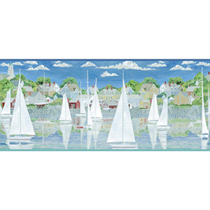 Inspired by Color Blue and White Captains Harbor Border Wallpaper