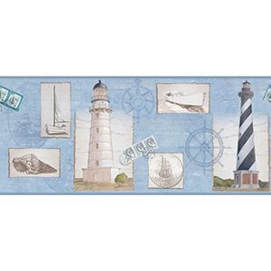 Inspired by Color Blue, White and Black Seacoast Lighthouse Border Wallpaper