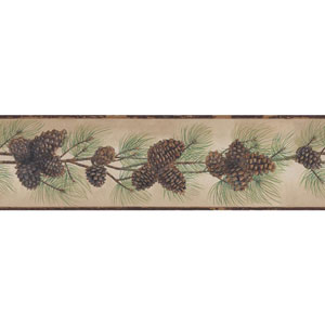 Border Portfolio II Brown and Green Pine Cone Branch Border