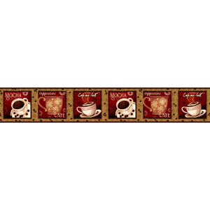 Country Keepsakes Gold and Red Cafe Au Lait Border