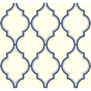 Antonina Vella Blue Kashmir Luxury Trellis Wallpaper