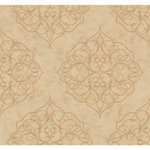 Antonina Vella Beige Kashmir Rose Window Wallpaper