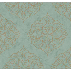 Antonina Vella Blue Kashmir Rose Window Wallpaper