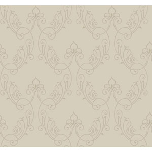 Antonina Vella Gray Kashmir Stitched Ornamental Wallpaper