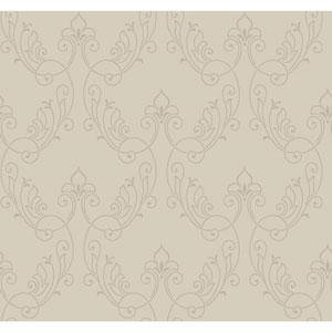 Antonina Vella Gray Kashmir Stitched Ornamental Wallpaper
