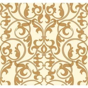 Antonina Vella Gold Kashmir Royal Scroll Wallpaper