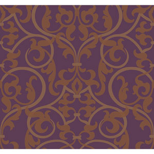 Antonina Vella Purple Kashmir Royal Scroll Wallpaper