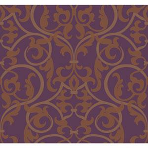 Antonina Vella Purple Kashmir Royal Scroll Wallpaper