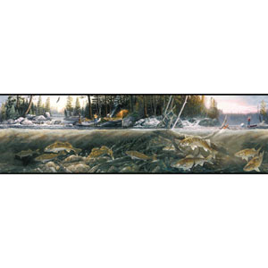 Border Portfolio II Fishing The Falls Removable Wallpaper Border
