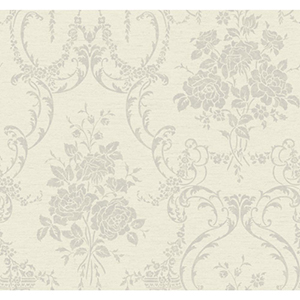 Saint Augustine Pearlescent White, Platinum, Beige and Silver Speckled Pearl Neoclassical Rose Damask Wallpaper