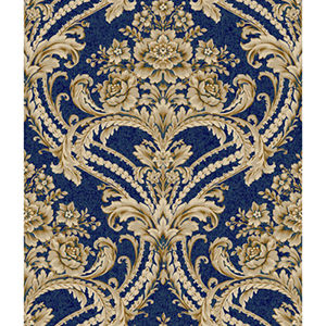 Saint Augustine Deep Sea Blue, Buff, Putty Gray and Gold Glint Baroque Floral Damask Wallpaper