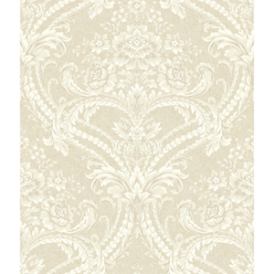 Saint Augustine Soft Gold, Blush Cream, Chalk White and Pale Gray Baroque Floral Damask Wallpaper