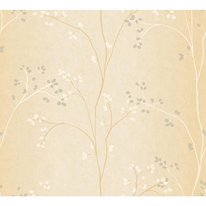 Inspired by Color Bisque, White and Gold Pearl Metallic Wallpaper