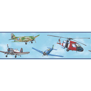 Room To Grow Bright Blue Air Rescue Border