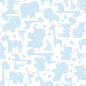 Room To Grow White and Light Blue Baby Safari Wallpaper