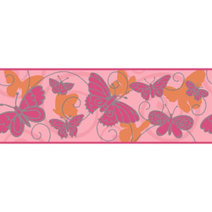 Room To Grow Pink and Orange Butterfly Border