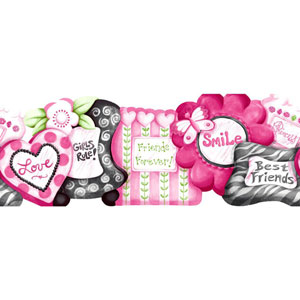 Room To Grow Pink Friends Frames Border
