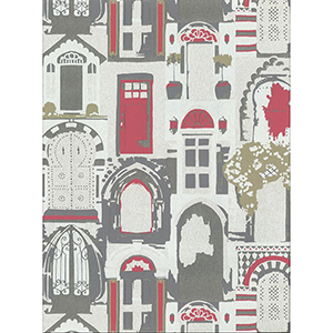 Culture Club Silver and Red Wallpaper