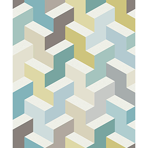 Culture Club Teal and Lime Geometric Wallpaper