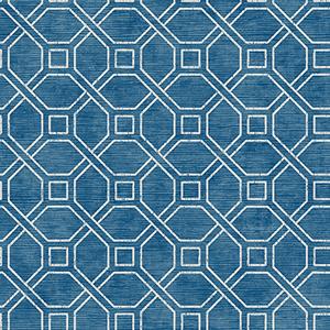 Coastal Trellis Cobalt Wallpaper