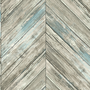 Herringbone Wood Boards Gray Wallpaper