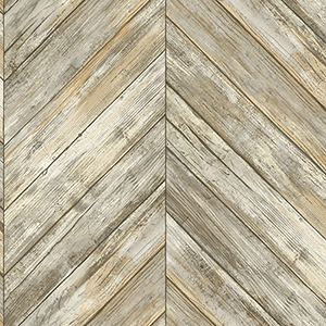Herringbone Wood Boards Neutral Wallpaper
