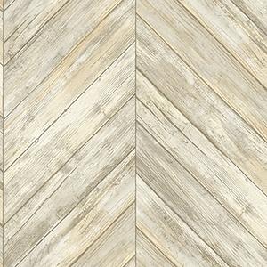 Herringbone Wood Boards Beige Wallpaper