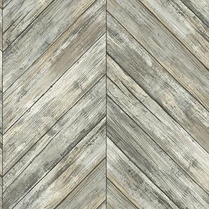 Herringbone Wood Boards Charcoal Wallpaper