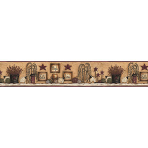 Welcome Home White, Beige, Tan, Barn Red, Olive Green, Black and Brown Border Faith Hope Love Shelf Wallpaper