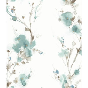 Candice Olson Breathless Charm Teal and Brown Wallpaper