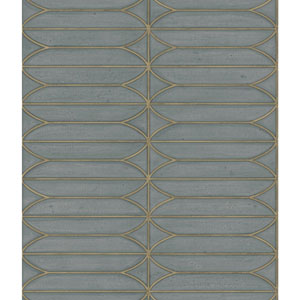Candice Olson Breathless Pavilion Charcoal and Blue Metallic Wallpaper