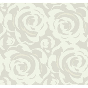 Candice Olson Breathless Lavish White on Grey Metallic Wallpaper