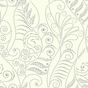 Candice Olson Breathless Modern Fern Silver and White Metallics Wallpaper