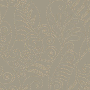 Candice Olson Breathless Modern Fern Antique Gold on Taupe, Black, Metallics Wallpaper