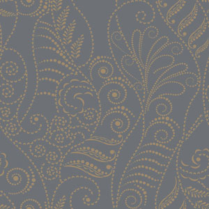 Candice Olson Breathless Modern Fern Gold on Charcoal, Black and Metallics Wallpaper