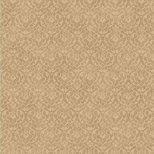 Gold and Beige Mini Damask Wallpaper