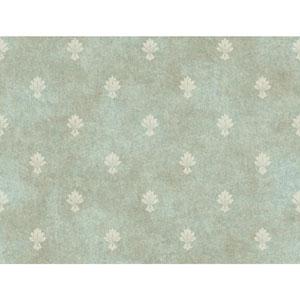 Tan and Aqua Mini Fleur D Lis Wallpaper