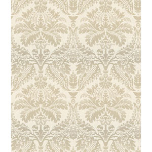 White and Silver Linear Damask Wallpaper