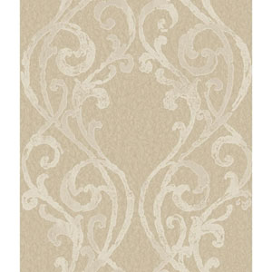 Soft Gold and Cream Open Scroll Frame Wallpaper